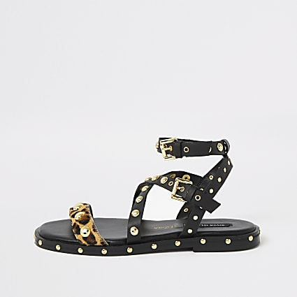 Black leopard print studded gladiator sandals