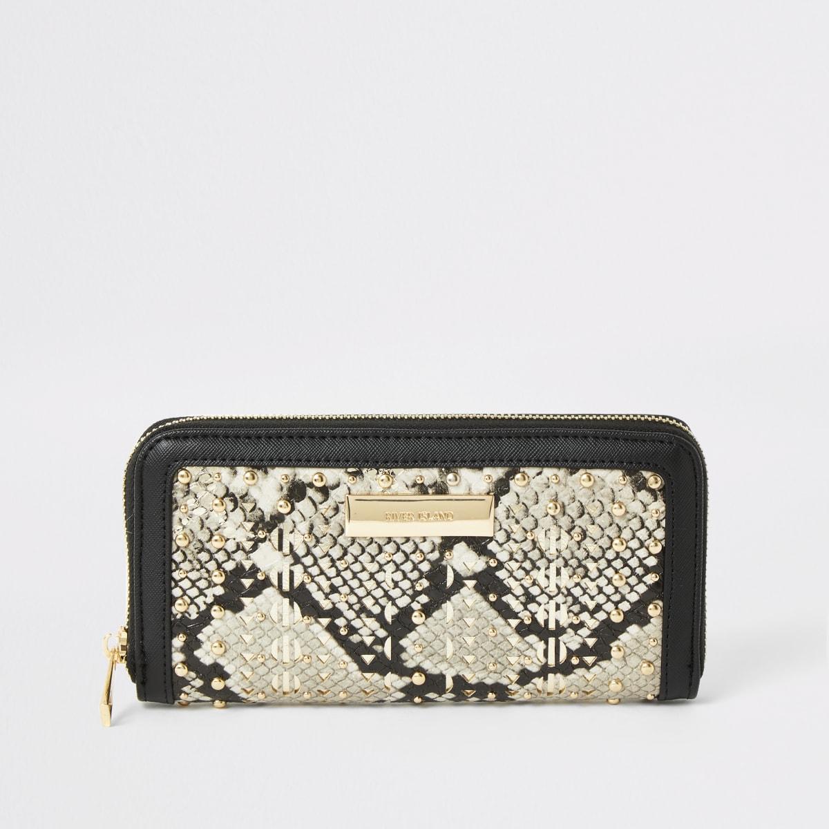 Beige snake printed studded zip around purse