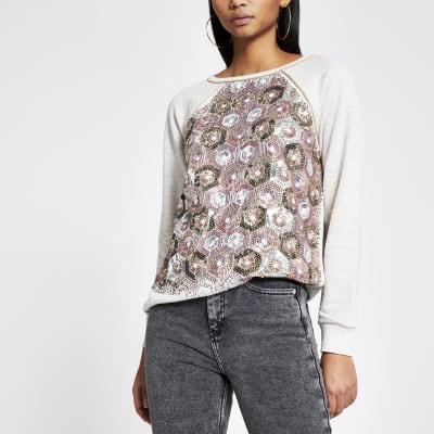 Grey sequin embellished loose sweatshirt