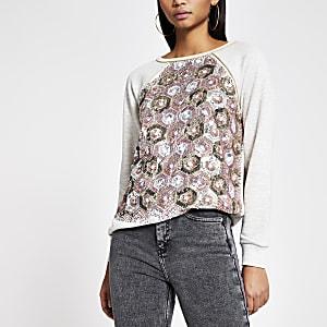 Grijzeloose-fit sweater verfraaid met lovertjes