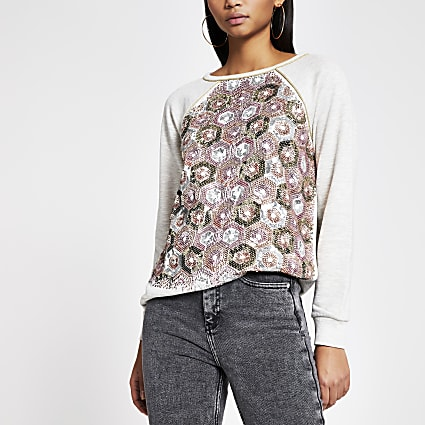 Grey sequin embellished loose sweatshirt