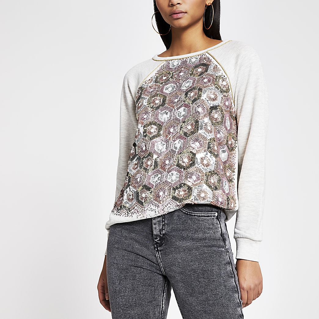 Sweat large gris orné de sequins