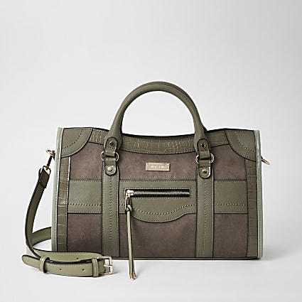 Khaki zip front cross body tote bag