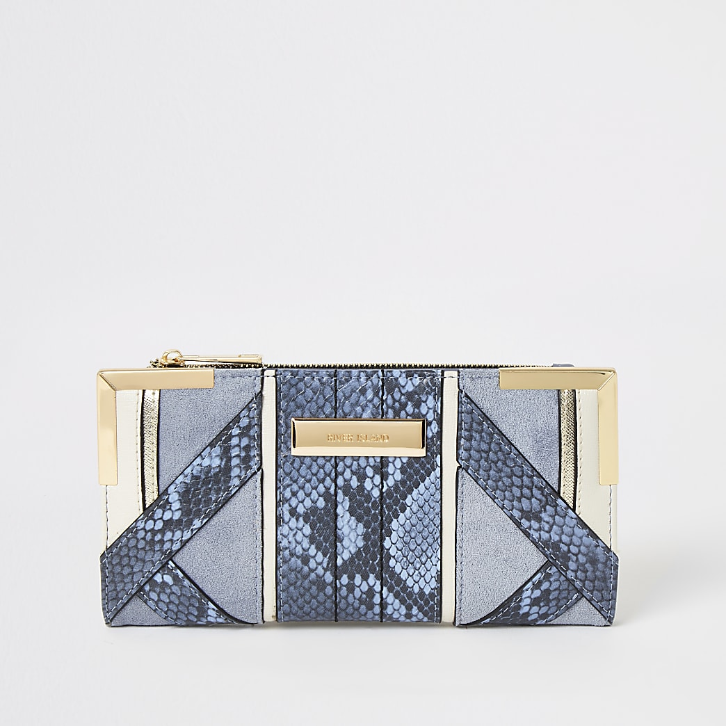 Blue snake embossed fold out purse