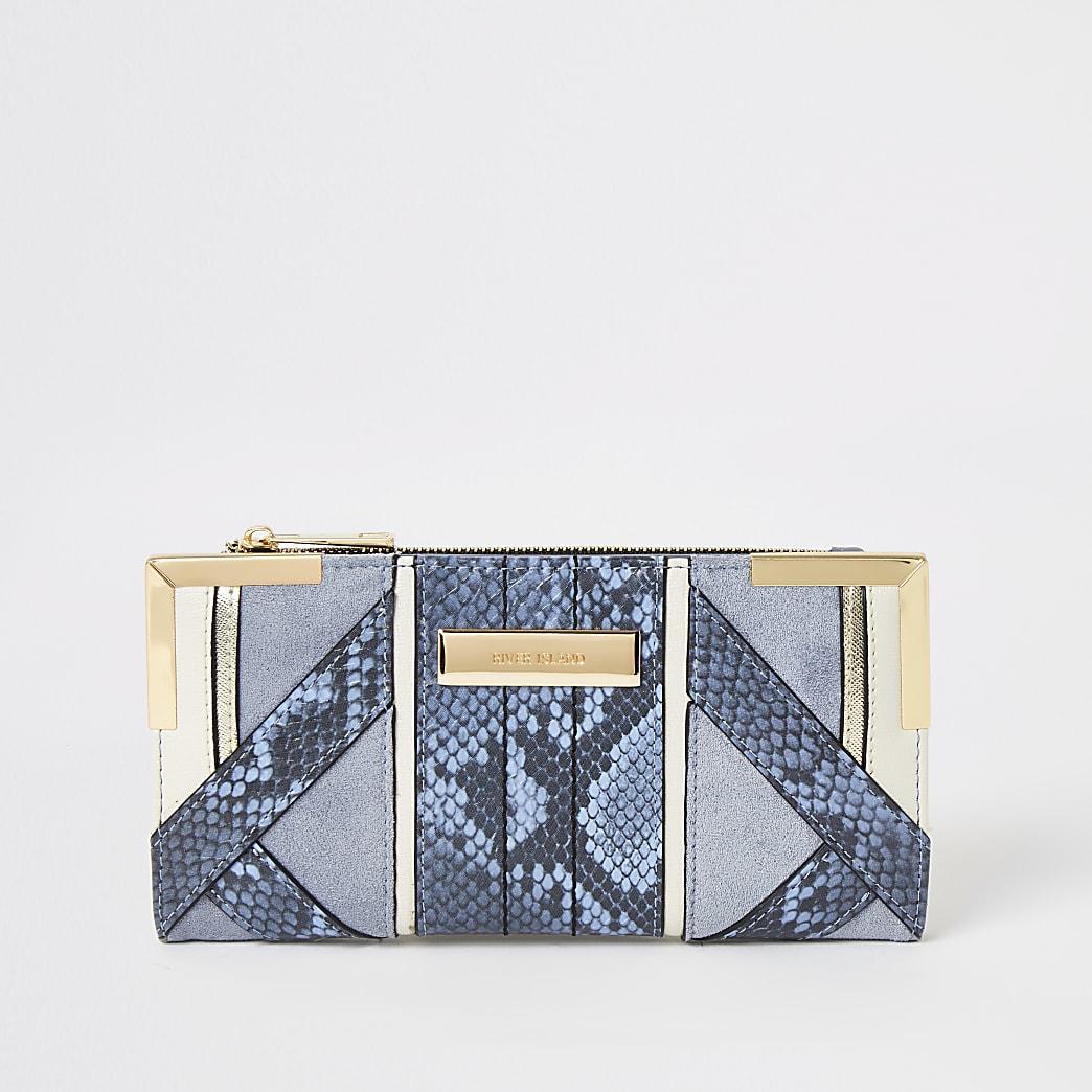 Blauwe uitvouwbare portemonnee met slangenprint in reliëf