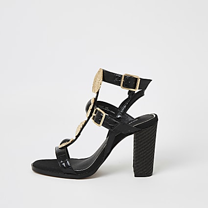 Black embellish gladiator block heel sandals