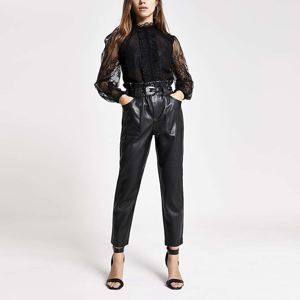 Petite black faux leather belt peg trousers