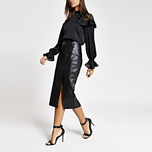 Black faux leather croc embossed pencil skirt
