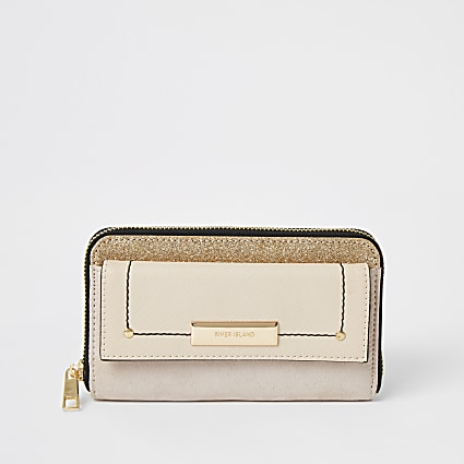 Beige glitter pocket front zip around purse