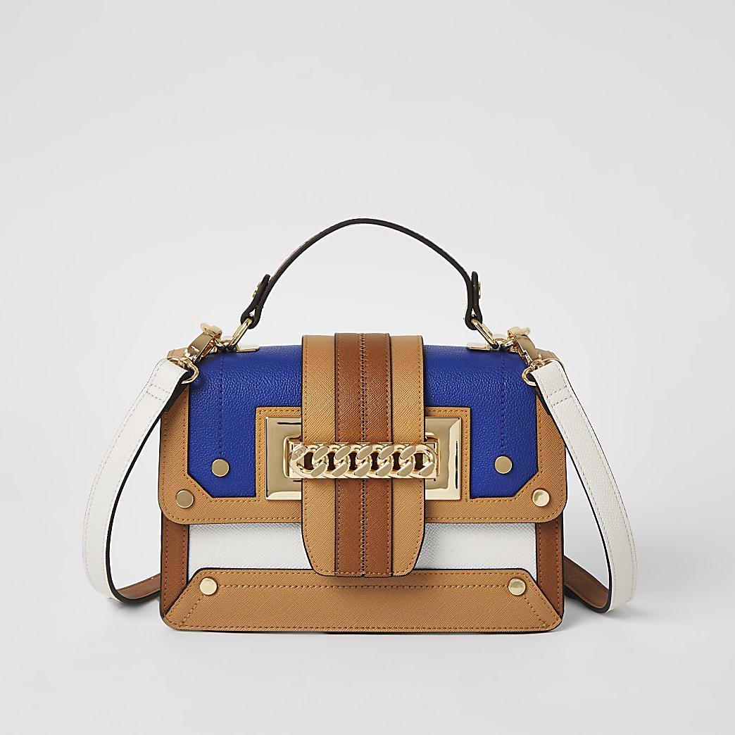 Beige chain front satchel cross body bag