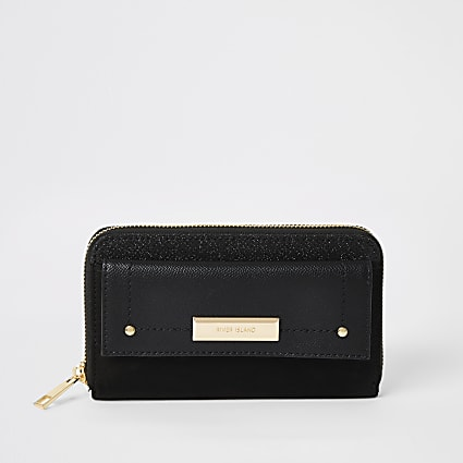 Black glitter pocket front zip around purse