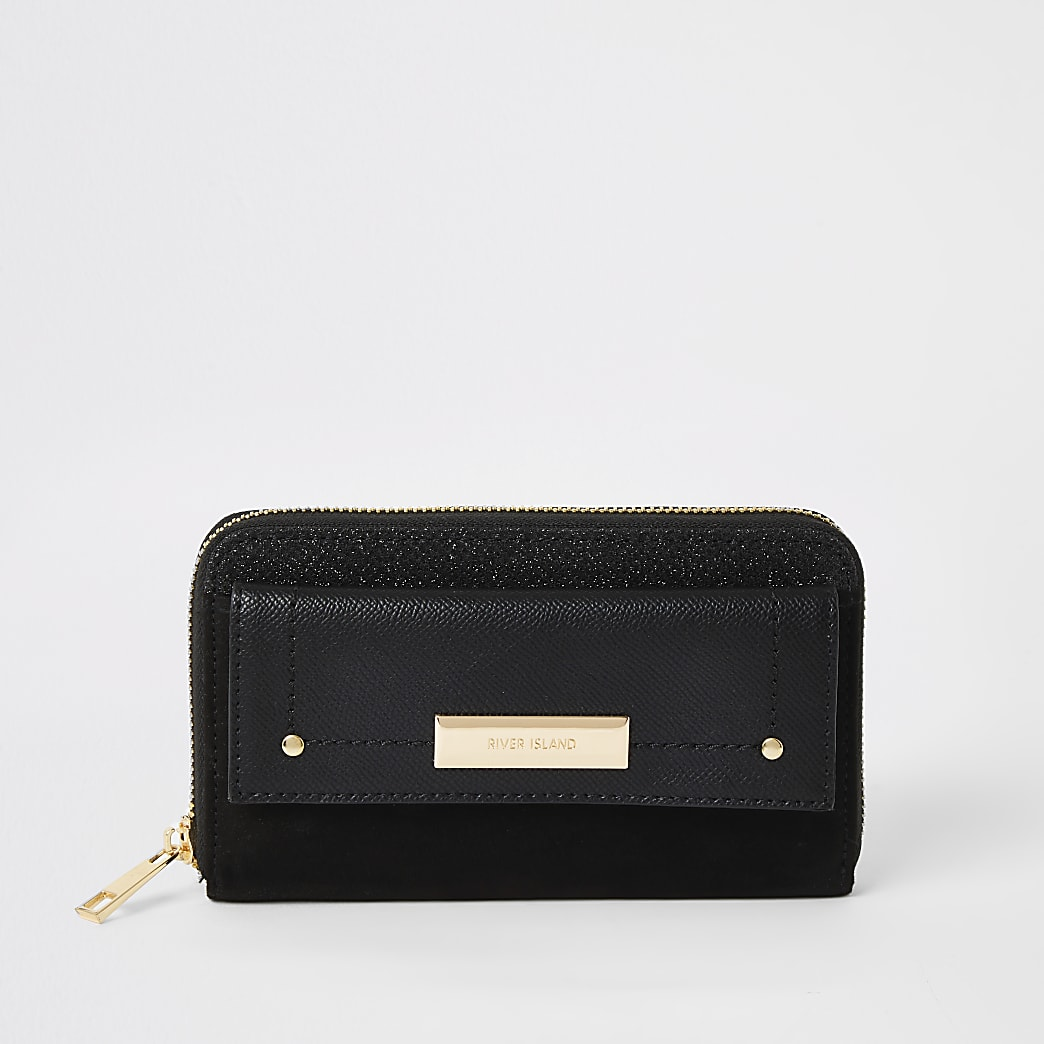 Black glitter pocket front zip around purse