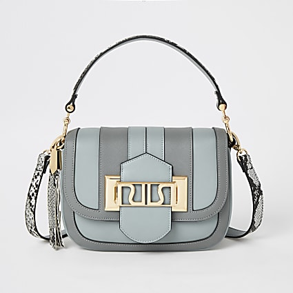Blue RIRI buckle cross body satchel bag