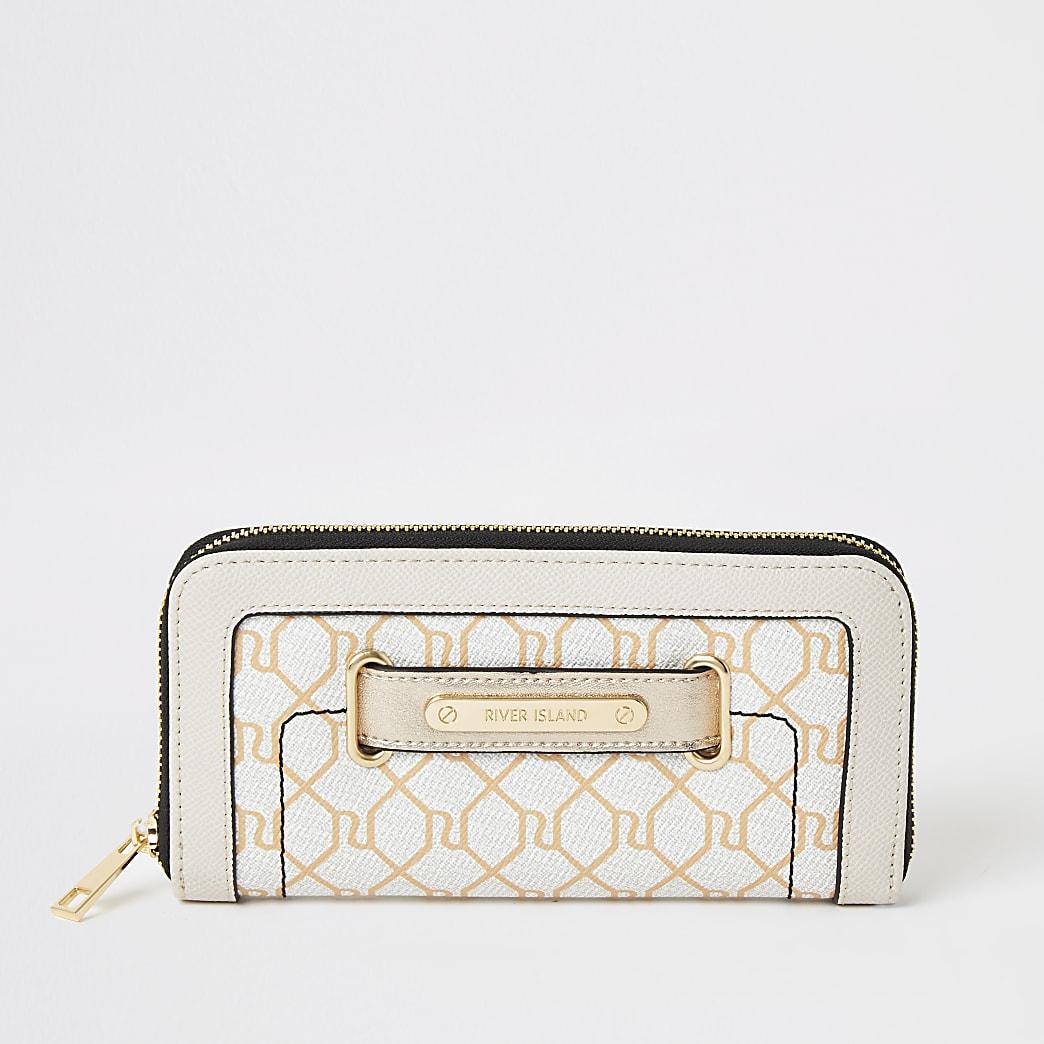 Portefeuille beige zippé avec languetteàmonogramme RI