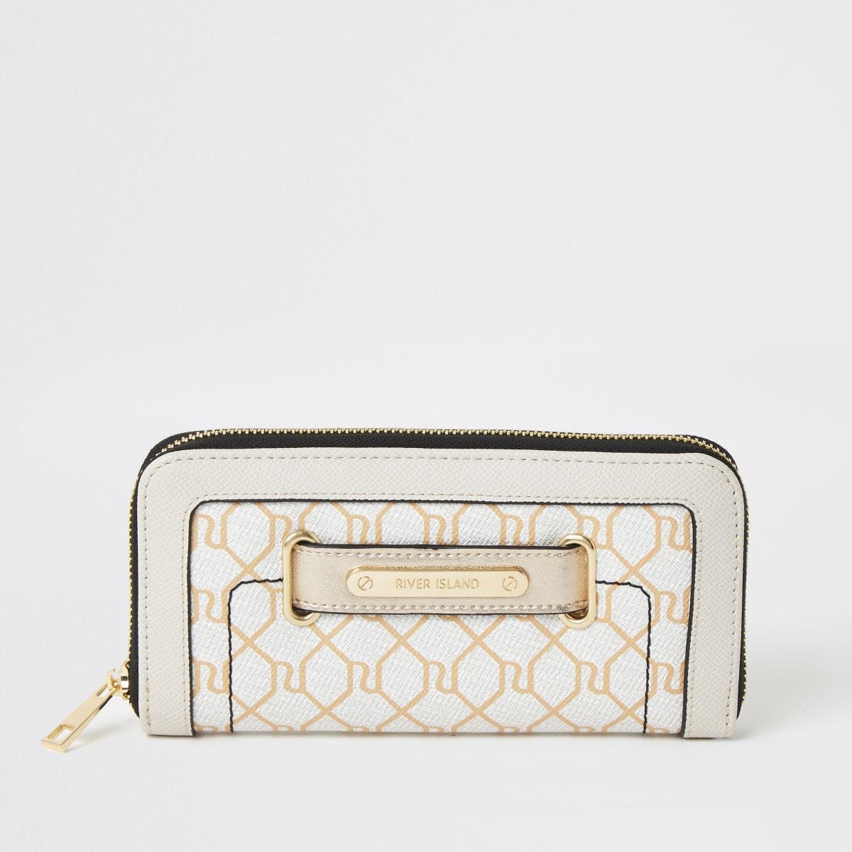 Beige RI monogram tab front zip around purse