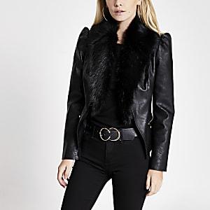 Petite – Schwarze Jacke mit Kunstfellbesatz und Puffärmeln