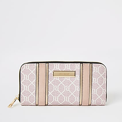 Pink RI monogram zip around purse