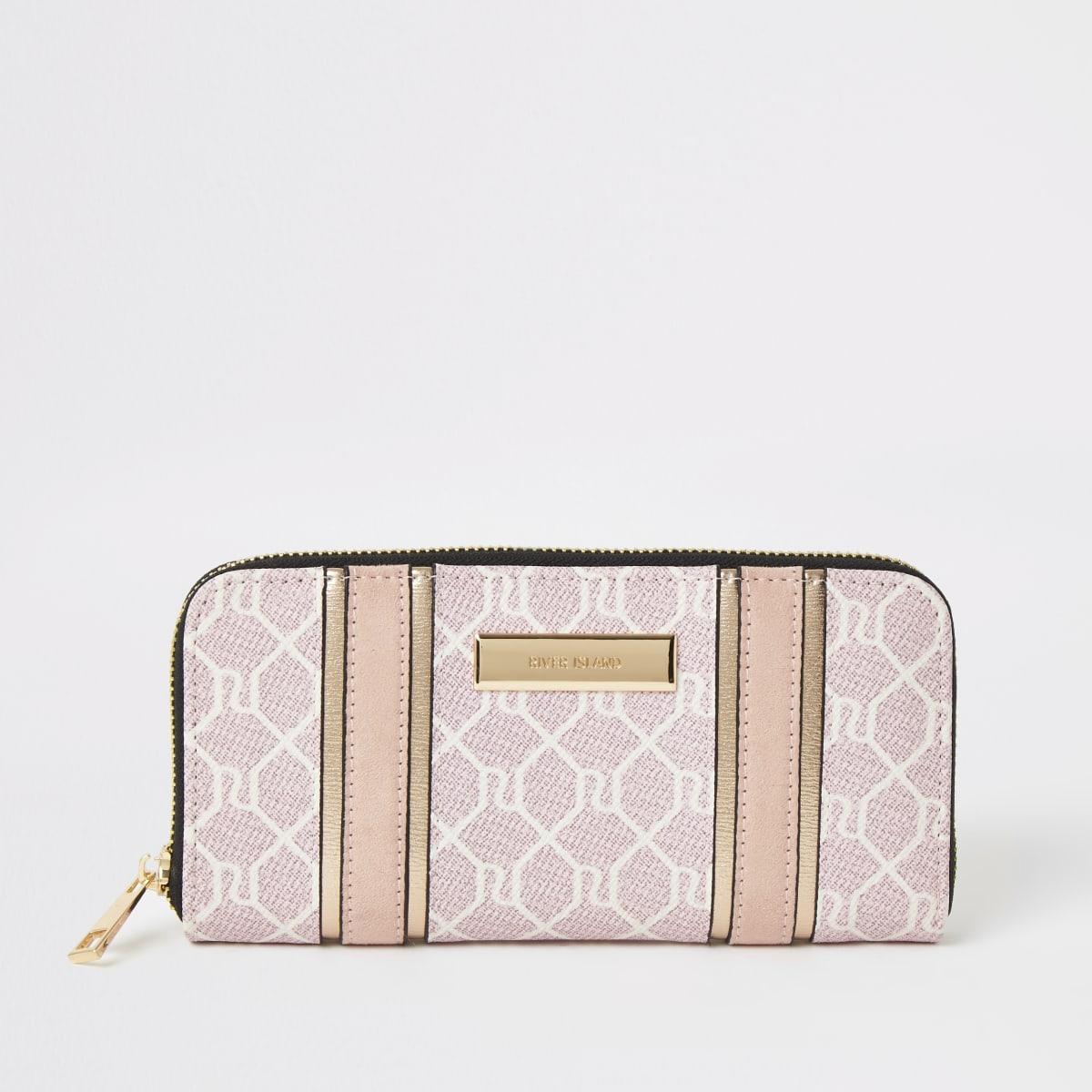 Pink RI monogram zip around purse