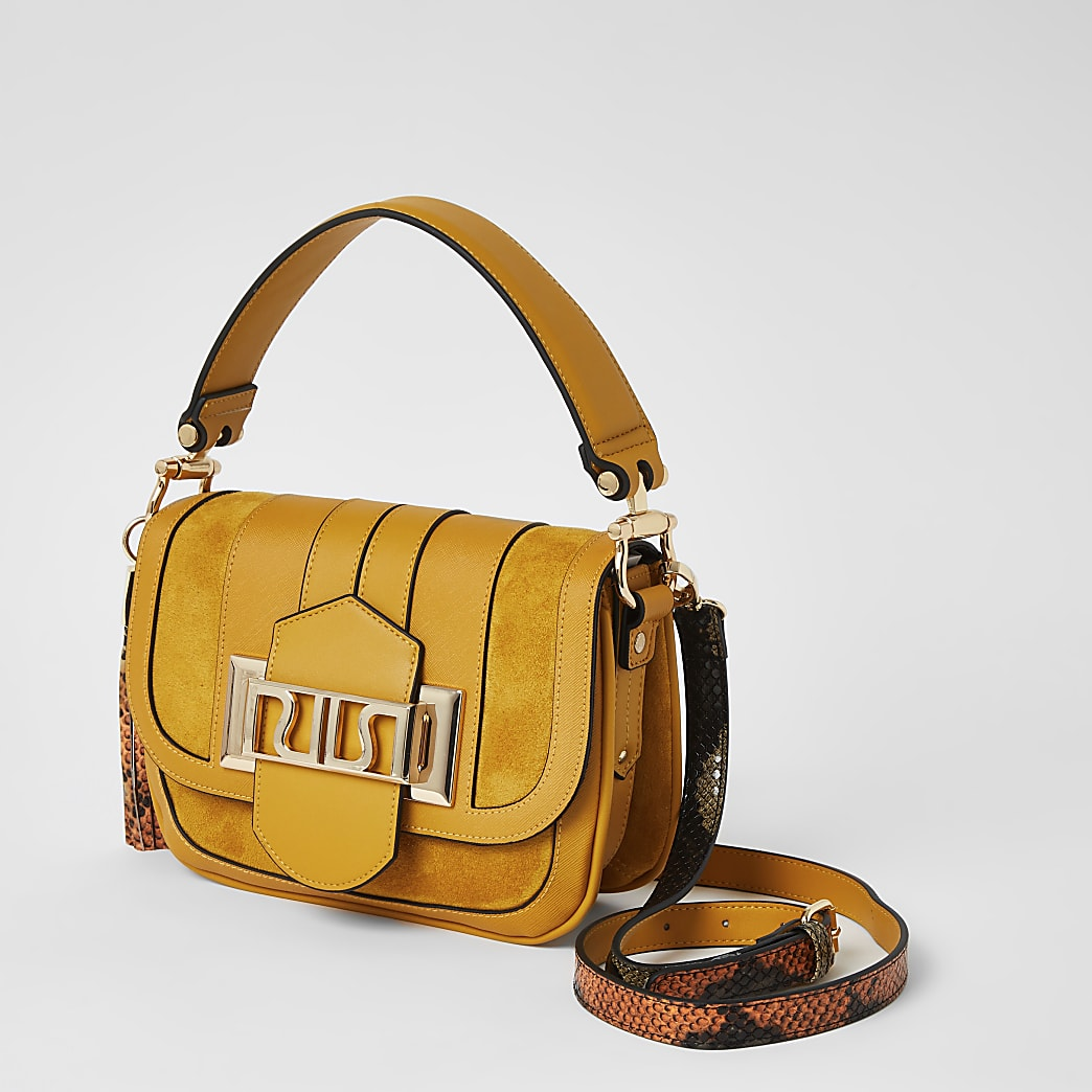 Yellow RIRI buckle cross body satchel bag