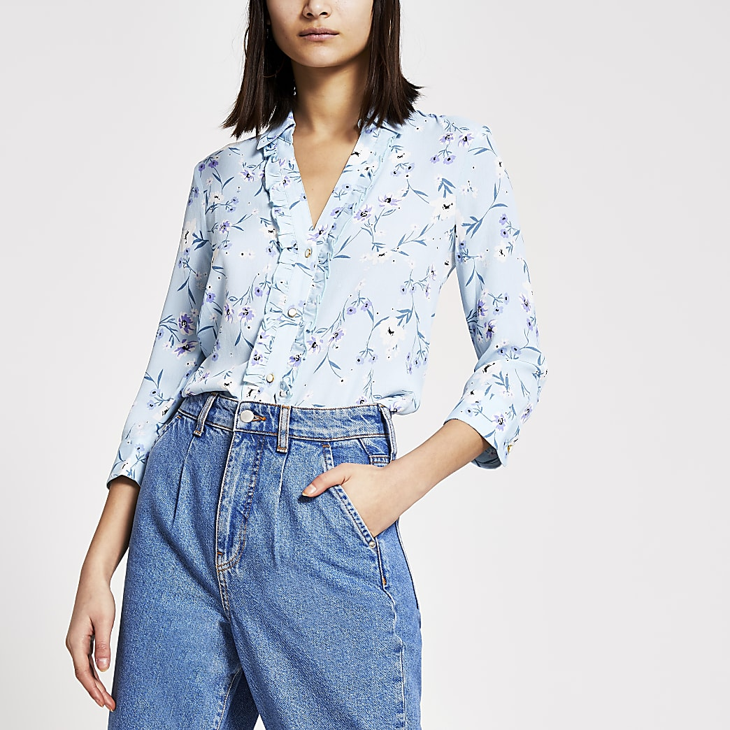 Blue floral frill long sleeve shirt