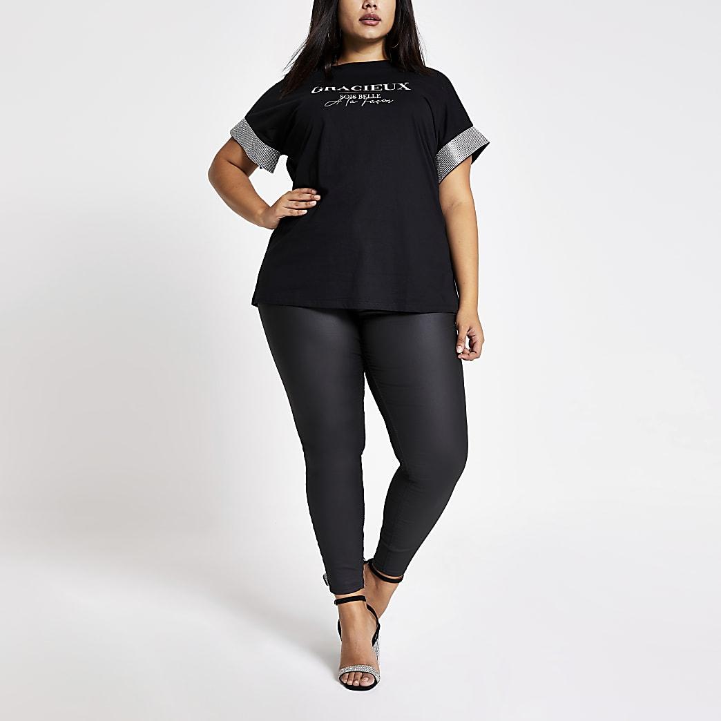 Plus black printed diamante sleeve T-shirt