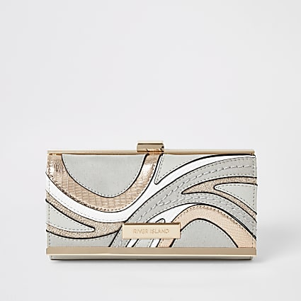 Grey swirl cutabout cliptop purse