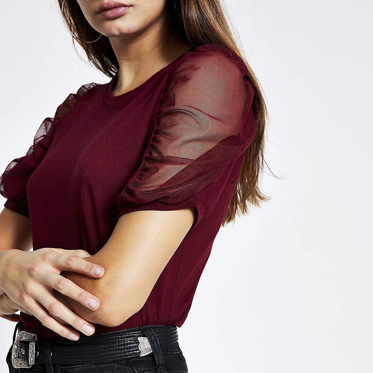 Dark red mesh puff short sleeve T-shirt