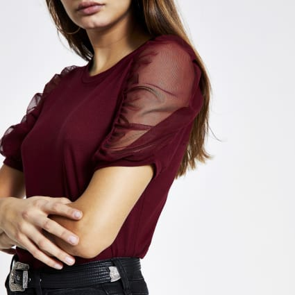 Dark red mesh puff short sleeve T-shirt