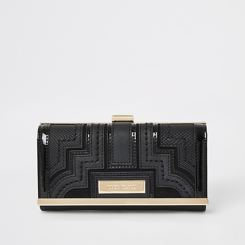 Black panelled cliptop purse