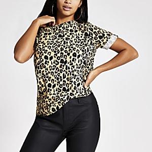 RI Petite - Beige T-shirt met luipaardprint