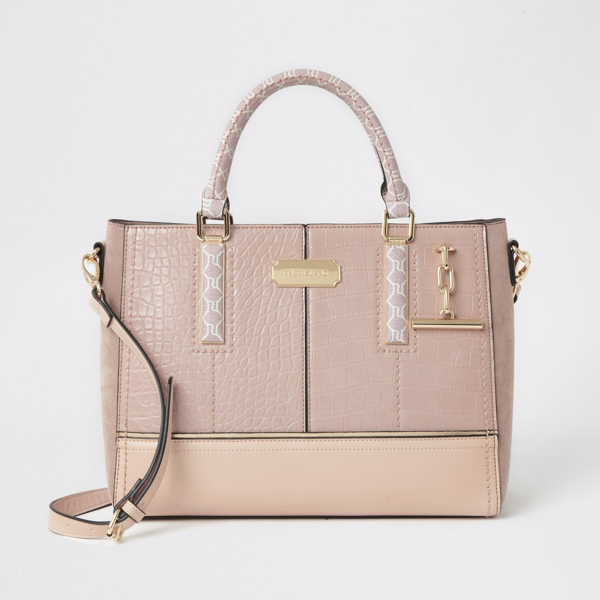Pink croc embossed T bar chain tote bag