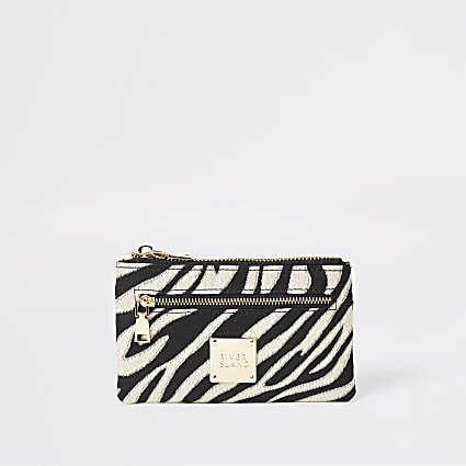 Black zebra print mini zip pouch