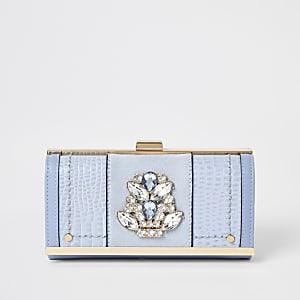 Portefeuille bleu ornéde pierres fantaisie avec fermoir clip