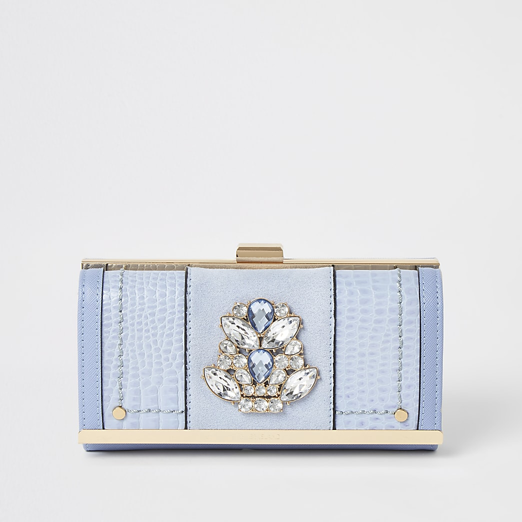 Blue jewel embellished cliptop purse