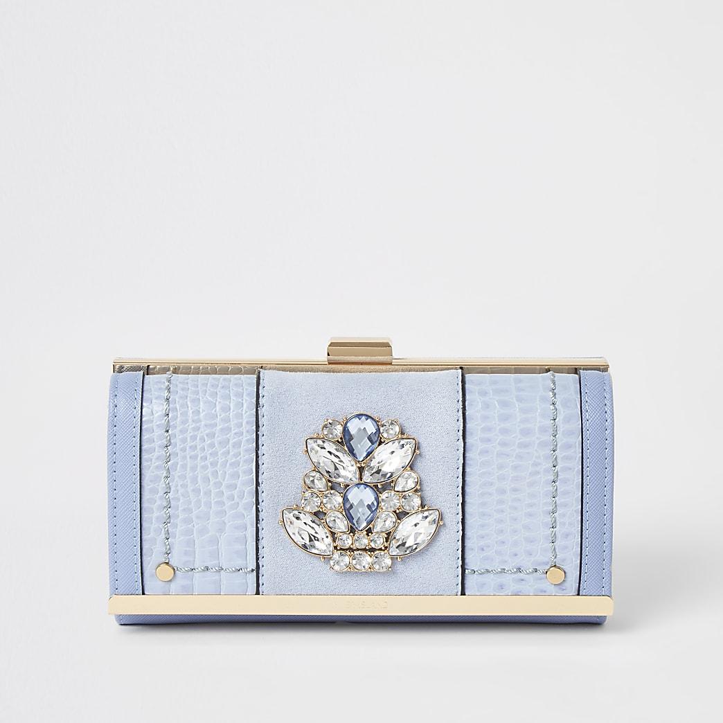 Blauwe portemonneemet druksluiting en siersteentjes