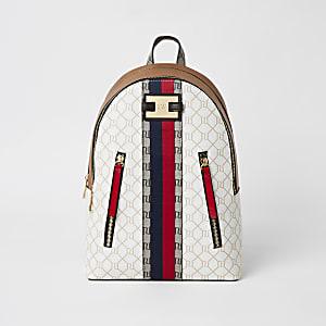 Beigefarbener Rucksack mit Reißverschluss vorne und RI-Monogramm