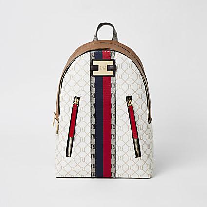 Beige RI monogram zip front backpack