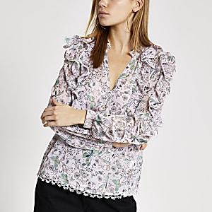 Langärmelige, gemusterte Bluse mit Rüschen in Pink