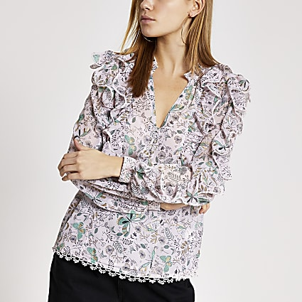 Pink printed frill long sleeve blouse