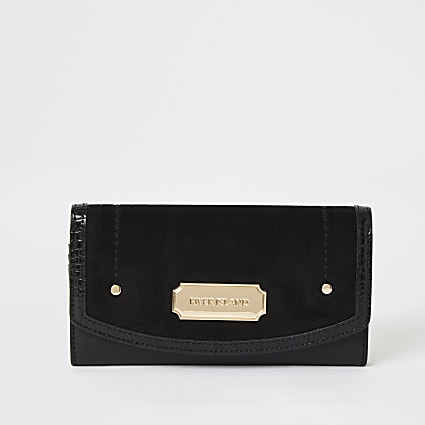 Black faux suede fold over purse