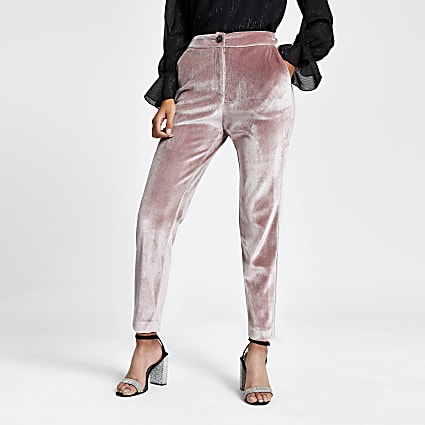 Pink velvet cigarette trousers