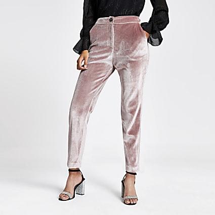 Pink velvet cigarette trousers