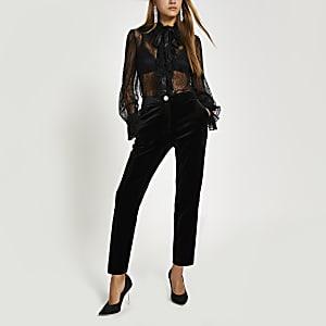 Pantalon cigarette en velours noir