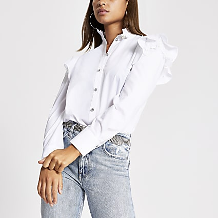White lace frill long sleeve poplin shirt