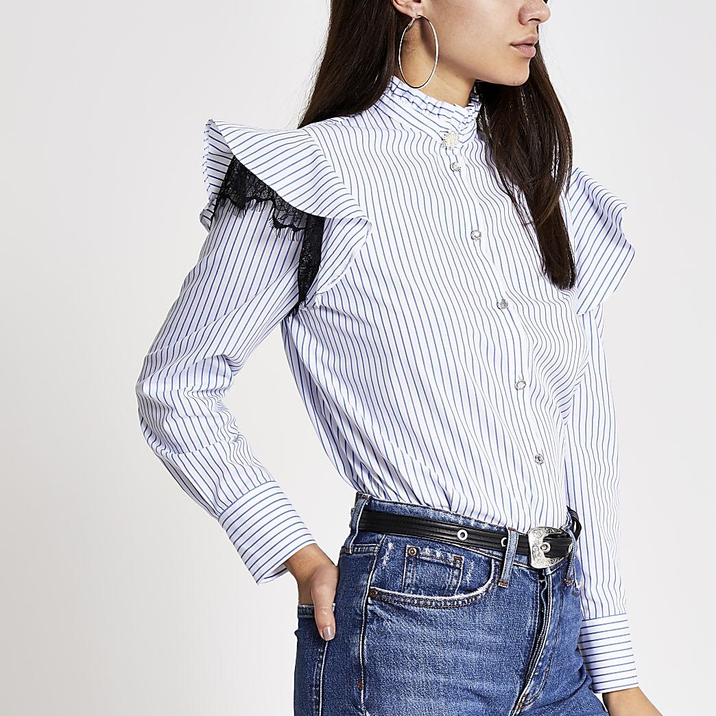 Blauw gestreept overhemd met lange mouwen met kant en ruches