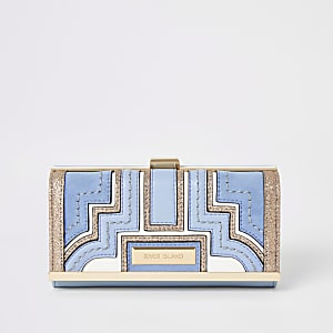 Blauwe portemonnee met druksluiting en glitterpanelen
