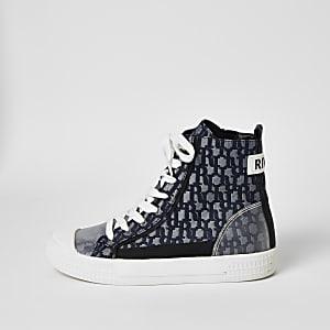 Blaue, hohe Sneakers mit RI-Monogramm