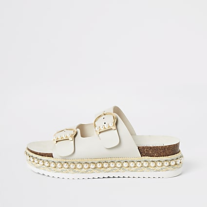 Cream pearl embellished flatform sandals