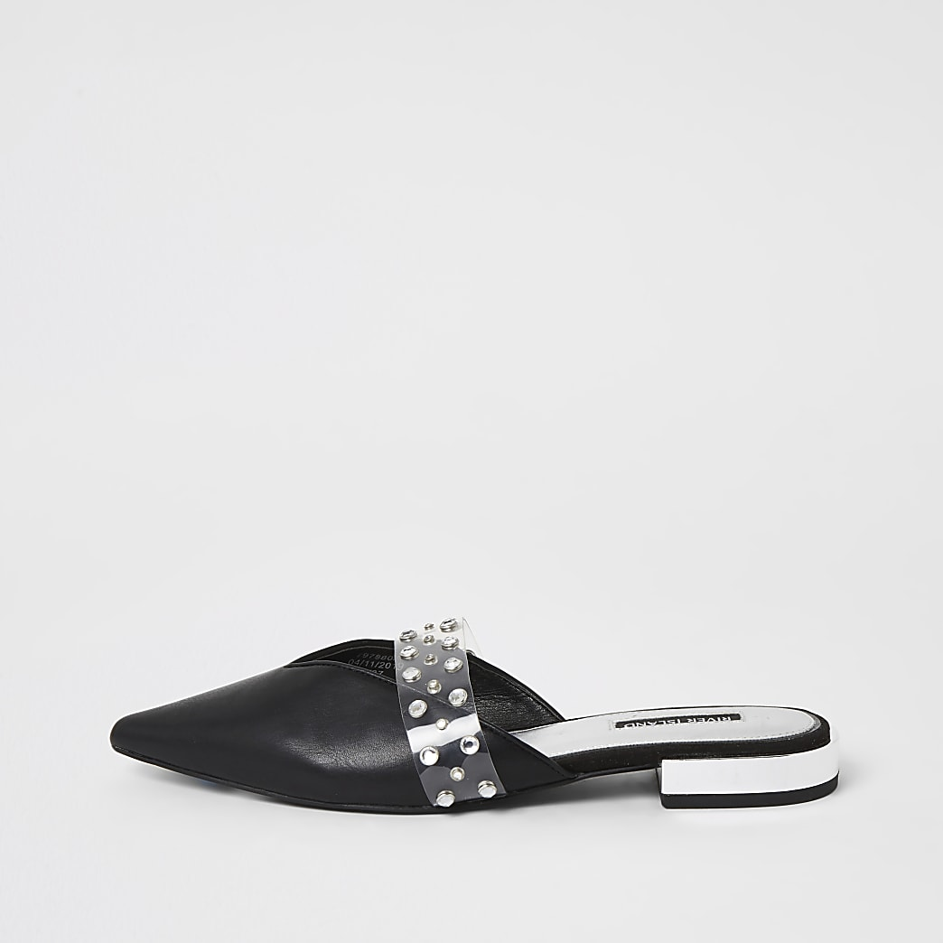 Black diamante pointed toe shoes