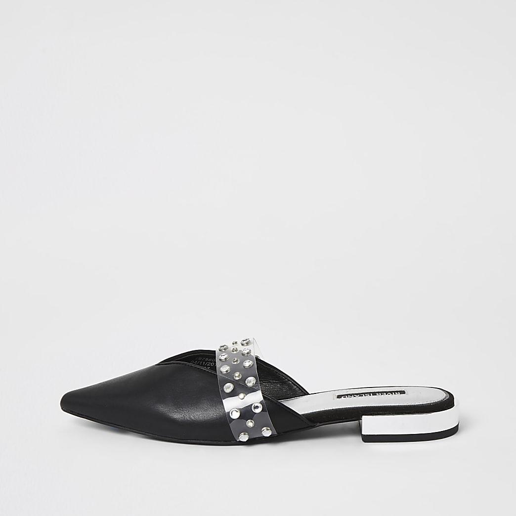 Zwarte schoenen met puntneus en siersteentjes